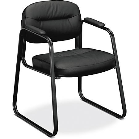 """basyx by HON® SofThread™ Leather Guest Chair, 32""""H x 24 1/4""""W x 23""""D, Black Frame, Black Leather"""