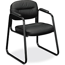 HON SofThread Leather Guest Chair Black