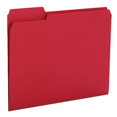 """Office Depot® Brand Heavy-Duty Top-Tab File Folders, 3/4"""" Expansion, 8 1/2"""" x 11"""", Letter Size, Red, Pack Of 18"""