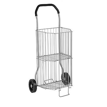 "Honey-Can-Do 2-Tier Steel Multipurpose Folding Utility Cart, 38""H x 20""W x 14""D, Silver"
