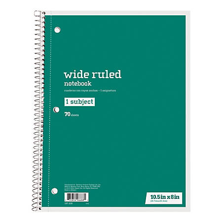 """Just Basics® Spiral Notebook, 7 1/2"""" x 10 1/2"""", Wide Ruled, 140 Pages (70 Sheets), Green"""