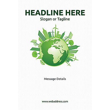 Adhesive Sign, Green World, Vertical