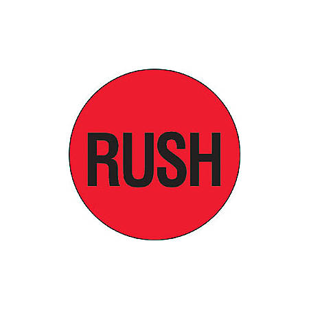 """Tape Logic® Preprinted Shipping Labels, DL1740, """"Rush"""", 2"""" Circle, Red/Black, Roll Of 500"""