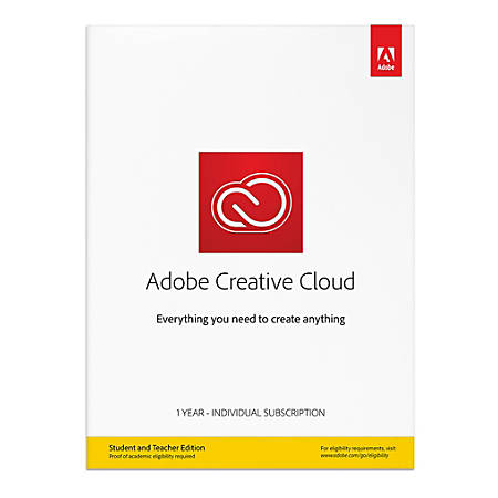 Adobe® Creative Cloud, Student/Teacher Edition, 1-Year Individual Subscription, For PC/Mac, Traditional Disc