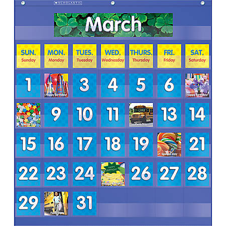 Teachers friend monthly calendar pocket chart by office depot