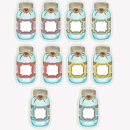 Teacher Created Resources Decorative Accents, Shabby Chic Mason Jars, Assorted Colors, Pre-K - Grade 8, Pack Of 30