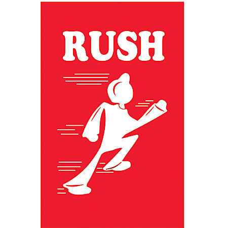 "Tape Logic® Preprinted Shipping Labels, DL1450, ""Rush"", 2"" x 3"", Red/White, Roll Of 500"