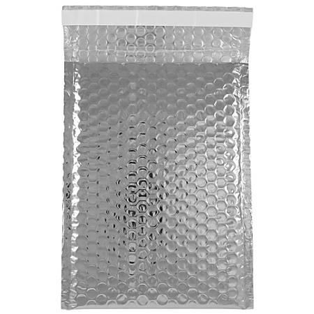"JAM Paper® Open-End Metallic Bubble Envelopes, 6 3/8"" x 9 1/2"" x 1/2"", Silver, Pack Of 12"