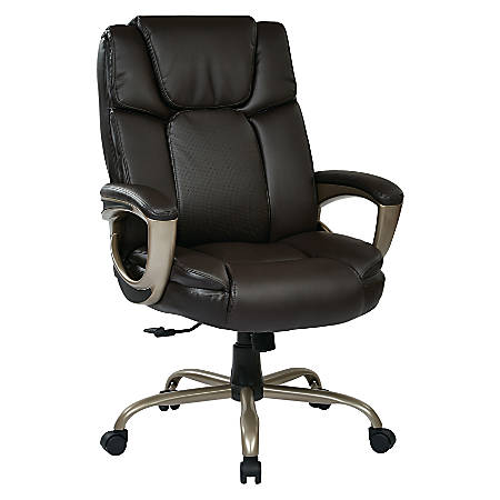 Office Star™ Work Smart Big & Tall Bonded Leather High-Back Chair, Espresso/Cocoa