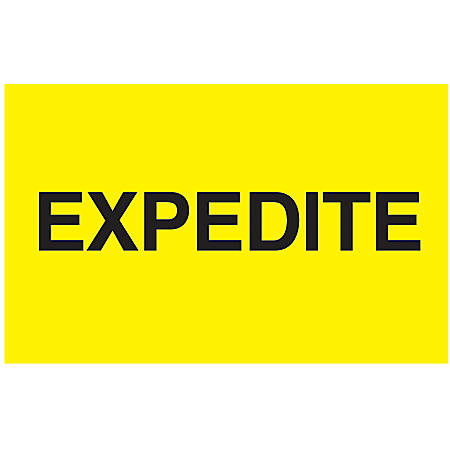 "Preprinted Special Handling Labels, DL2381, ""Expedite"", 5"" x 3"", Bright Yellow, Roll Of 500"