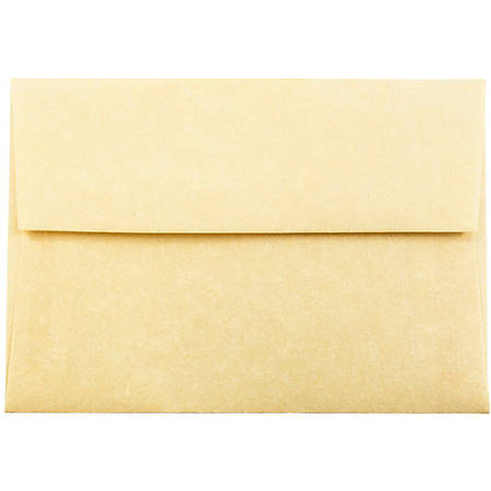 """JAM Paper® Booklet Envelopes With Gummed Closure (Recycled), 4 Bar A1, 3 5/8"""" x 5 1/8"""", 30% Recycled, Antique Gold, Pack Of 25"""