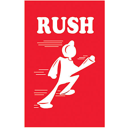"""Tape Logic® Preprinted Shipping Labels, DL1440, """"Rush"""", 4"""" x 6"""", Red/White, Roll Of 500"""