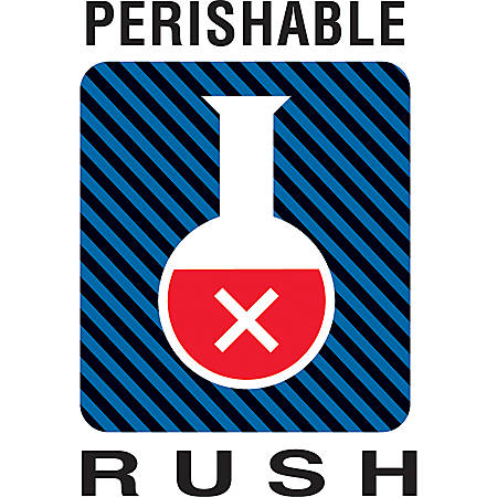 "Tape Logic® Preprinted Shipping Labels, DL1600, ""Perishable Rush"", 4"" x 6"", Multicolor, Roll Of 500"