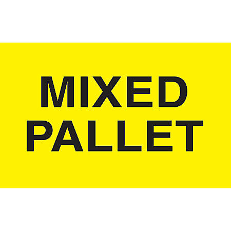 "Preprinted Special Handling Labels, DL2481, ""Mixed Pallet"", 5"" x 3"", Bright Yellow, Roll Of 500"