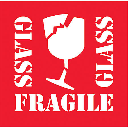 """Tape Logic® Preprinted Shipping Labels, DL1282, """"Glass Fragile Glass"""", 4"""" x 4"""", Red/White, Roll Of 500"""