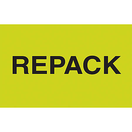 "Preprinted Special Handling Labels, DL2621, ""Repack"", 5"" x 3"", Fluorescent Green, Roll Of 500"