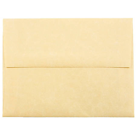 """JAM Paper® Booklet Invitation Envelopes (Recycled), A2, 4 3/8"""" x 5 3/4"""", 30% Recycled, Antique Gold, Pack Of 25"""