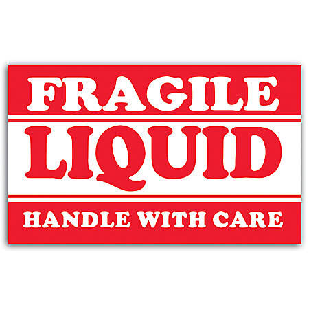 """Tape Logic® Preprinted Shipping Labels, DL1300, """"Fragile Liquid Handle With Care"""", 5"""" x 3"""", Red/White, Roll Of 500"""