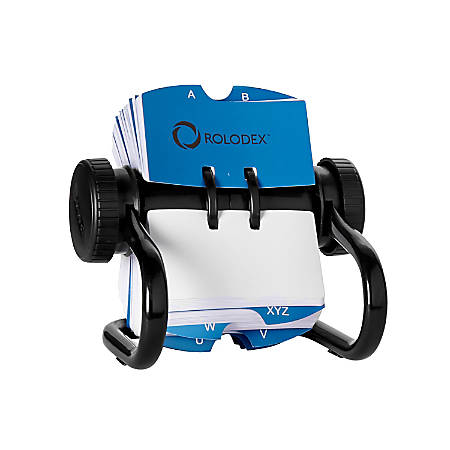 """Rolodex® Open Metal Single Rotary File, 2 1/4"""" x 4"""", 500 Cards, Black"""