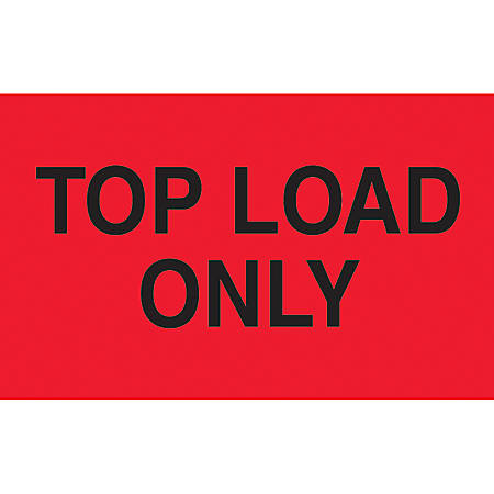 """Preprinted Special Handling Labels, DL2681, """"Top Load Only"""", 5"""" x 3"""", Fluorescent Red, Roll Of 500"""