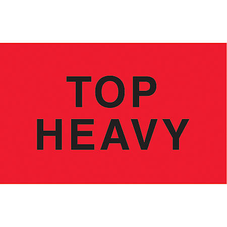 """Preprinted Special Handling Labels, DL2721, """"Top Heavy"""", 5"""" x 3"""", Fluorescent Red, Roll Of 500"""