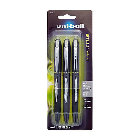 uni-ball® JetStream™ Ballpoint Pens, Bold Point, 1.0 mm, Black Barrel, Black Ink, Pack Of 3