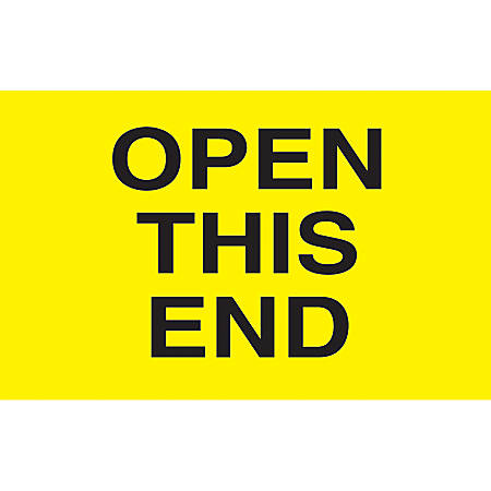 """Preprinted Special Handling Labels, DL2761, """"Open This End"""", 5"""" x 3"""", Bright Yellow, Roll Of 500"""