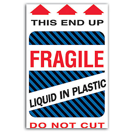 "Tape Logic® Preprinted Shipping Labels, DL1580, ""This End Up Liquid In Plastic Fragile"", 4"" x 6"", Red/White, Roll Of 500"