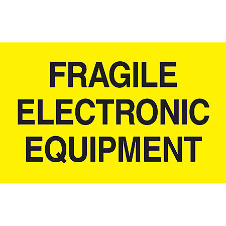 "Preprinted Special Handling Labels, DL2441, ""Fragile Electronic Equipment"", 5"" x 3"", Bright Yellow, Roll Of 500"