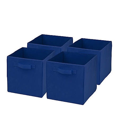 "Honey-Can-Do Non-Woven Foldable Cubes, 11 7/16""H x 10 5/8""W x 10 5/8""D, Blue, Pack Of 4"
