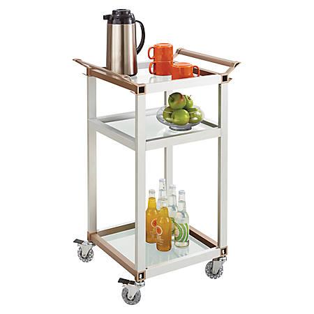 """Safco® 3-Shelf Refreshment Cart, Small, 22""""H x 16 3/4""""W x 35""""D, Silver"""