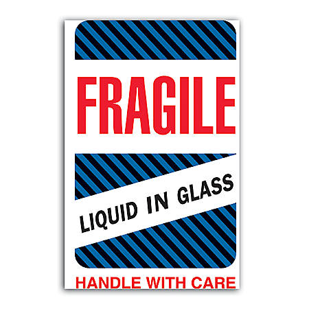 """Tape Logic® Preprinted Shipping Labels, DL1590, """"Fragile Liquid In Glass Handle With Care"""", 4"""" x 6"""", Red/White, Roll Of 500"""