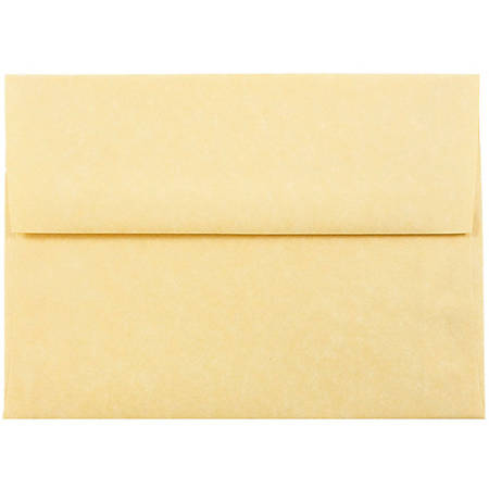 """JAM Paper® Parchment Booklet Invitation Envelopes, A6, 4 3/4"""" x 6 1/2"""", 30% Recycled, Antique Gold, Pack Of 25"""