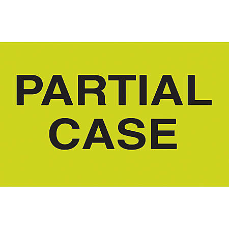 """Preprinted Special Handling Labels, DL2581, """"Partial Case"""", 5"""" x 3"""", Fluorescent Green, Roll Of 500"""