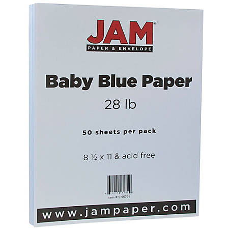 "JAM Paper® Printer Paper, Letter Size (8 1/2"" x 11""), 28 Lb, Baby Blue, Ream Of 50 Sheets"