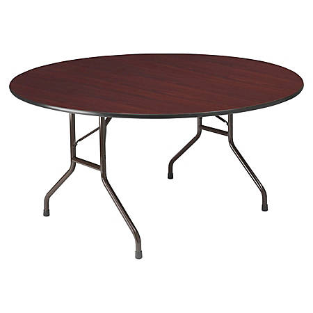 "Iceberg Premium Wood Laminate Folding Table, Round, 60""W x 60""D, Mahogany/Steel Gray"