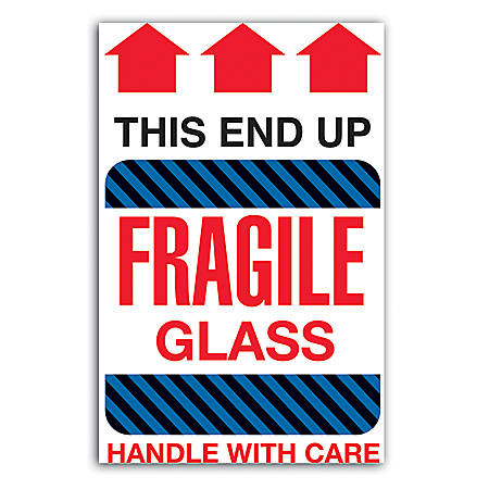 """Tape Logic® Preprinted Shipping Labels, DL1980, """"This End Up Fragile Glass Handle With Care"""", 4"""" x 6"""", Red/White, Roll Of 500"""