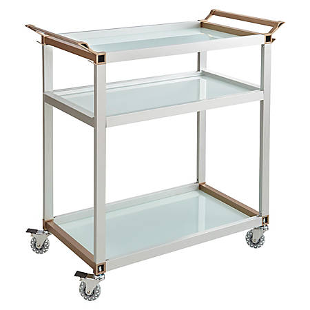 "Safco® 3-Shelf Refreshment Cart, Large, 35""H x 24 3/4""W x 35""D, Silver"