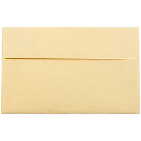 """JAM Paper® Parchment Booklet Invitation Envelopes, A10, 6"""" x 9 1/2"""", 30% Recycled, Antique Gold, Pack Of 25"""
