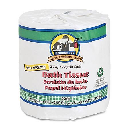 Genuine Joe 2-Ply Embossed Roll Bathroom Tissue, 550 Sheets Per Roll, Case Of 80 Rolls