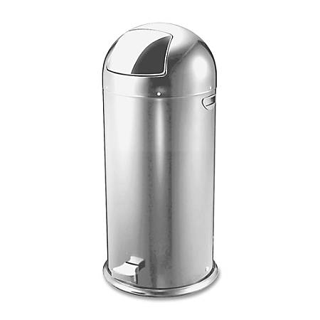 Genuine Joe Classic Round-Top Receptacle, 12 Gallons, Silver