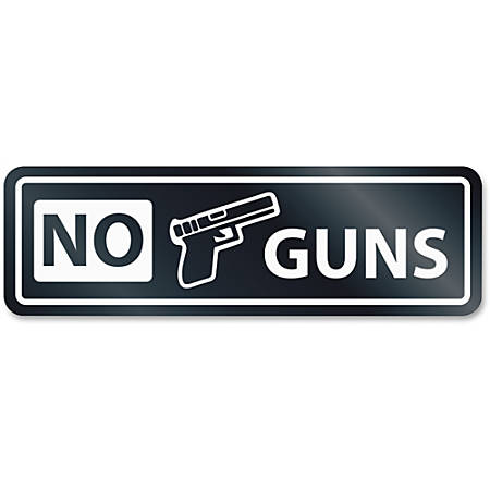 HeadLine No Guns Window Sign - 1 Each - NO GUNS Print/Message - Rectangular Shape - Self-adhesive, Removable - White, Clear