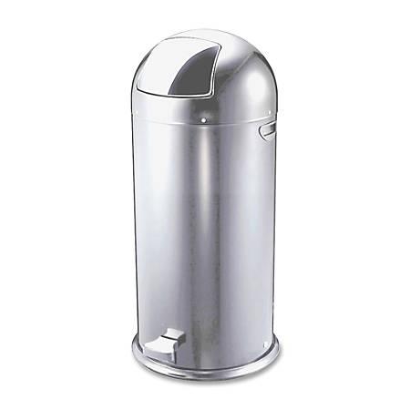 Genuine Joe 13.5-Gallon Pedal Receptacle Bin, Silver