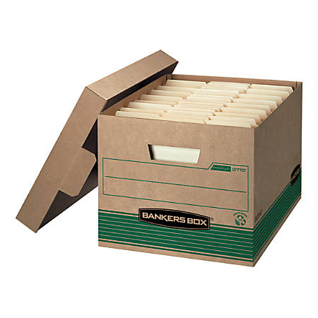 """Bankers Box® FastFold™ Stor/File™ Storage Boxes, 15"""" x 12"""" x 10"""", Letter/Legal, 100% Recycled, Kraft/Green, Pack Of 12"""