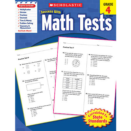 Scholastic Success With: Math Tests Workbook, Grade 4