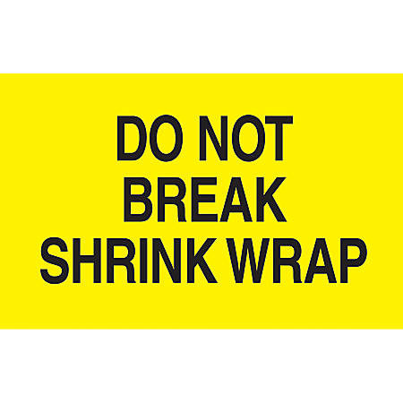 """Preprinted Special Handling Labels, DL2181, """"Do Not Break Shrink Wrap"""", 5"""" x 3"""", Bright Yellow, Roll Of 500"""