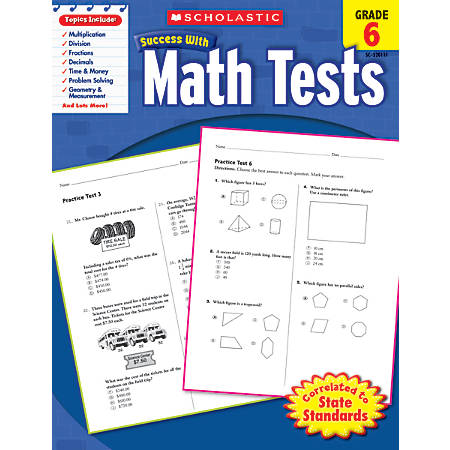 Scholastic Success With: Math Tests Workbook, Grade 6