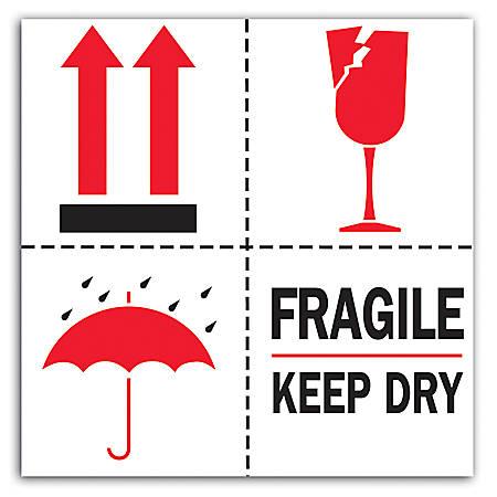 """Tape Logic® Preprinted International Safe-Handling Labels, DL4420, """"Fragile, Keep Dry"""", 4"""" x 4"""", Red/Black/White, Roll Of 500"""
