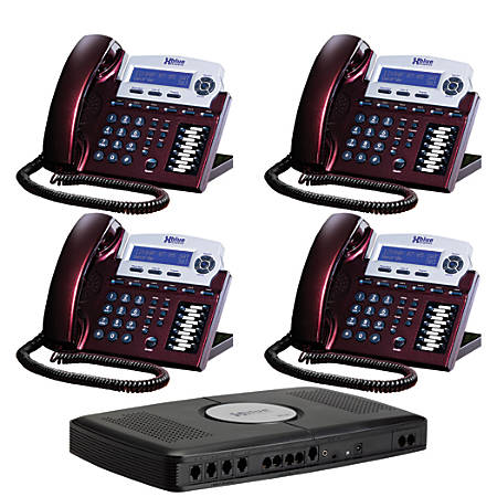 XBLUE Networks X16 Corded Telephone Bundle, Red Mahogany, Set of 4