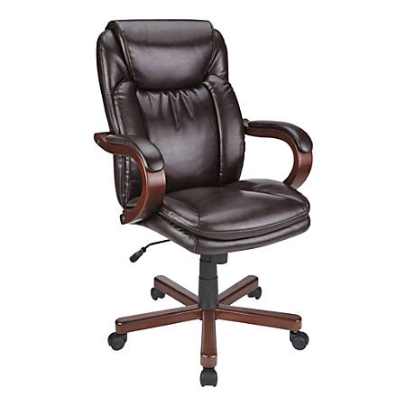 Realspace® Carlin Bonded Leather High-Back Chair, Brown